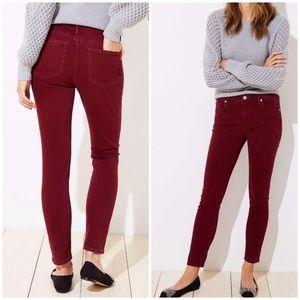 Loft French Burgundy / Light Maroon Skinny Jeans